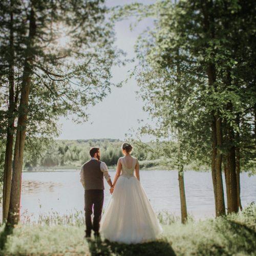 Pond Wedding Photo